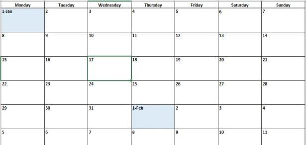 eating calendar